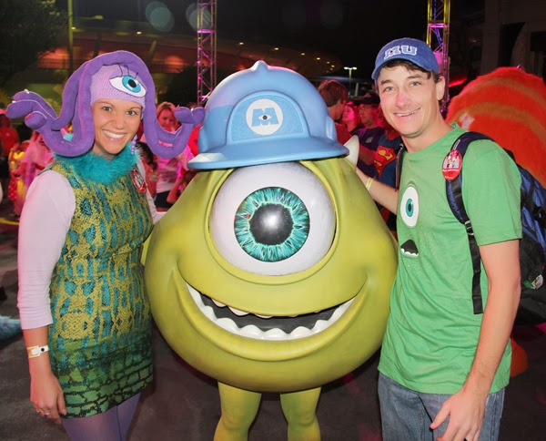 Mark and Jenni as Celia and Mike Wazowski from Monsters Inc at Disney World