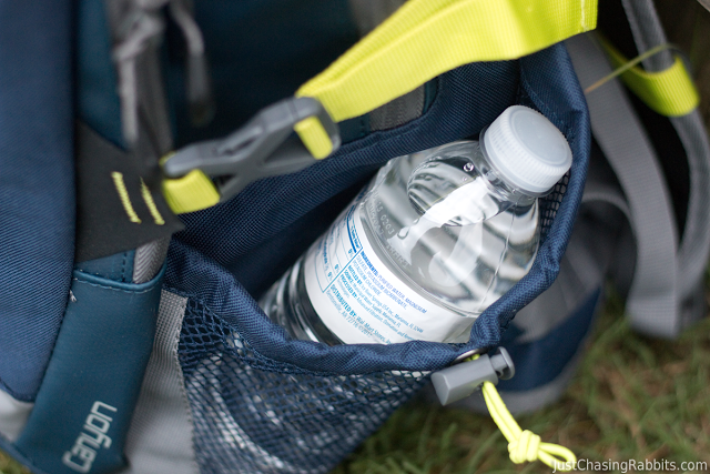 Canyon Weather Defense backpack water bottle