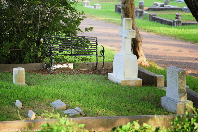 Mr. Lawrence's Toolbox under a bench at the Natchez City Cemetery