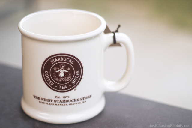 A mug from the First Starbucks Store location is a great souvenir from Seattle, Washington