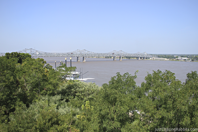 View of the Mississippi River from Antebellum mansion Rosalie in Natchez, Mississippi