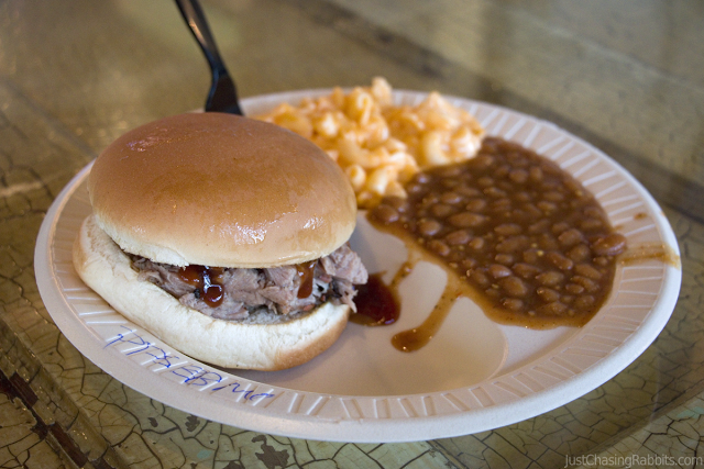 Pulled pork sandwich, baked beans, and macaroni at the Pig Out Inn barbecue restaurant in Natchez, Mississippi