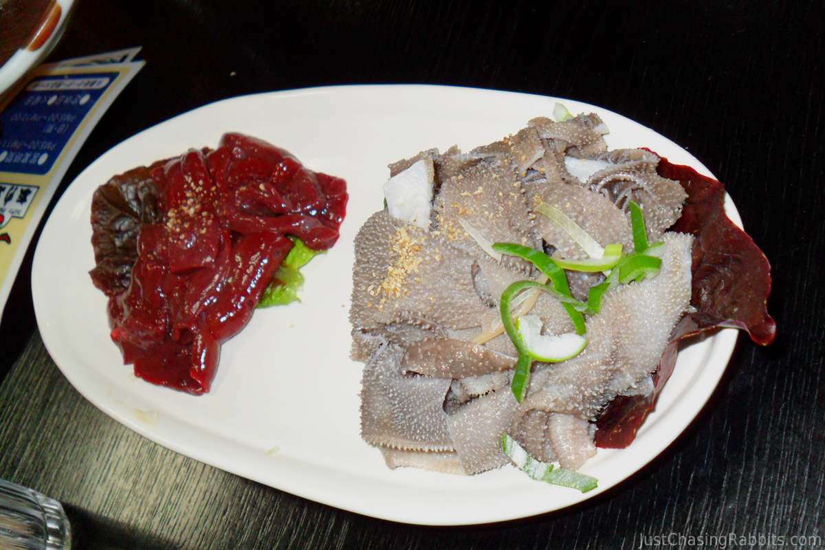 Japan Food Raw Liver and Cow Stomach