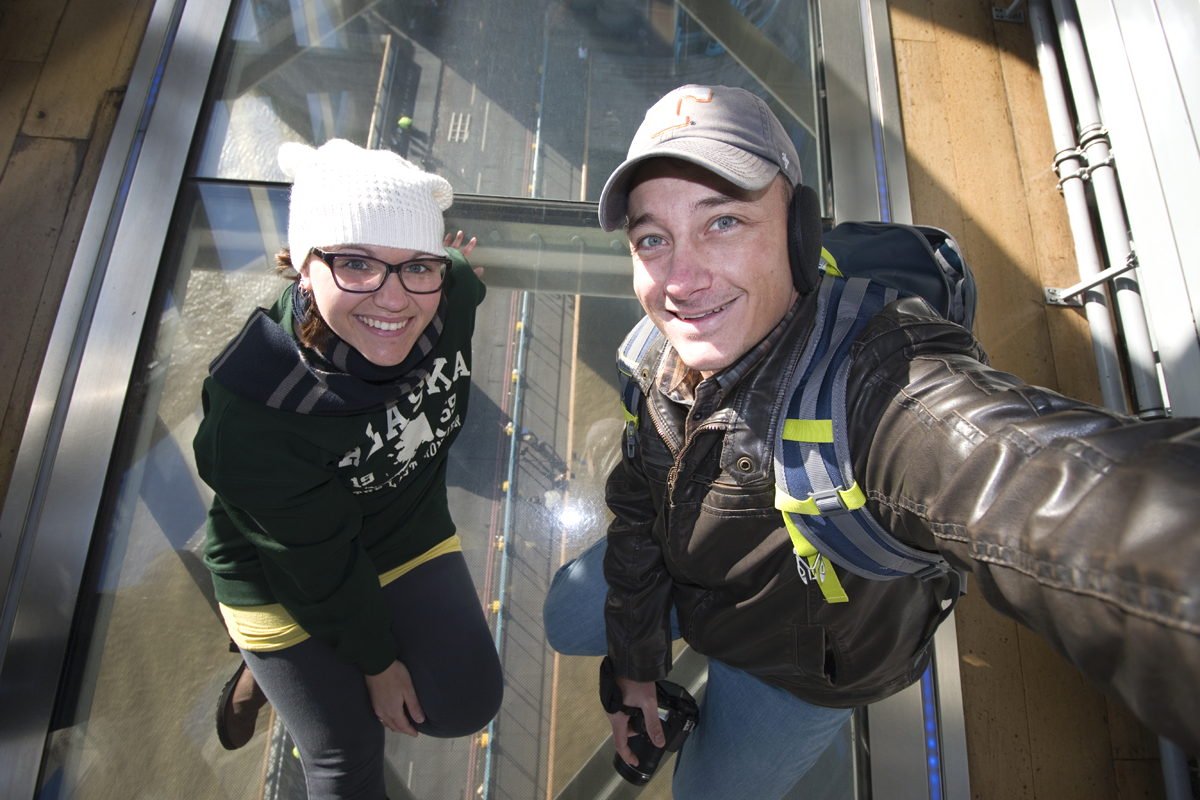 At the Tower Bridge Glass Floor in London