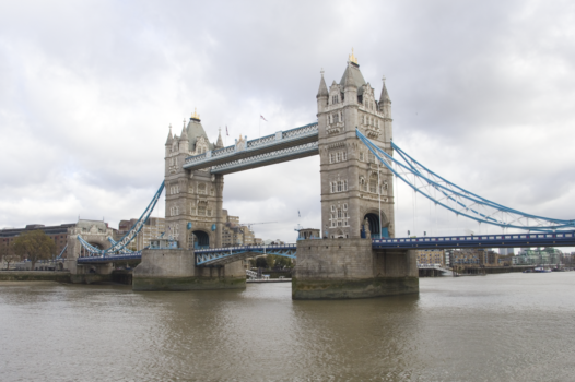 Tower Bridge in London on a cloudy day
