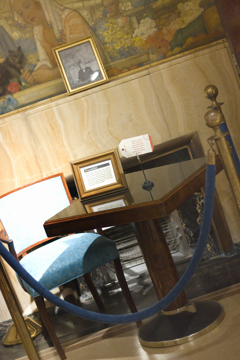 One of the gift shops aboard the Queen Mary used to be the first class drawing room and Winston Churchill's office