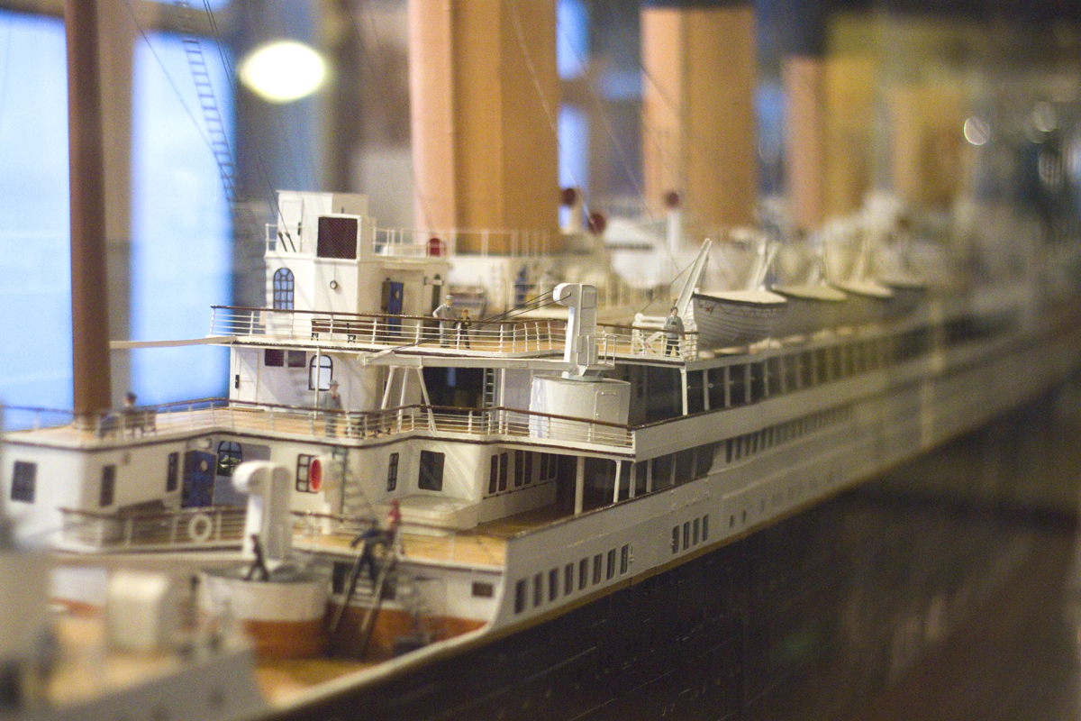 A ship model aboard the Queen Mary