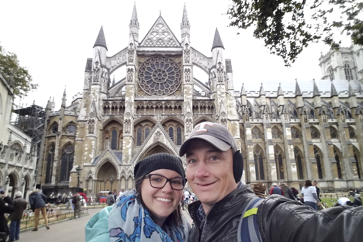 Standing in front of Westminster Abbey in London, England