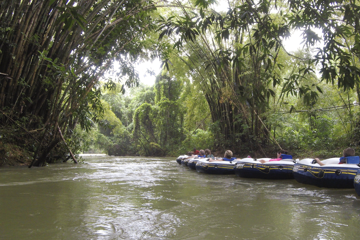 Floating down the Martha Brae River in Jamaica