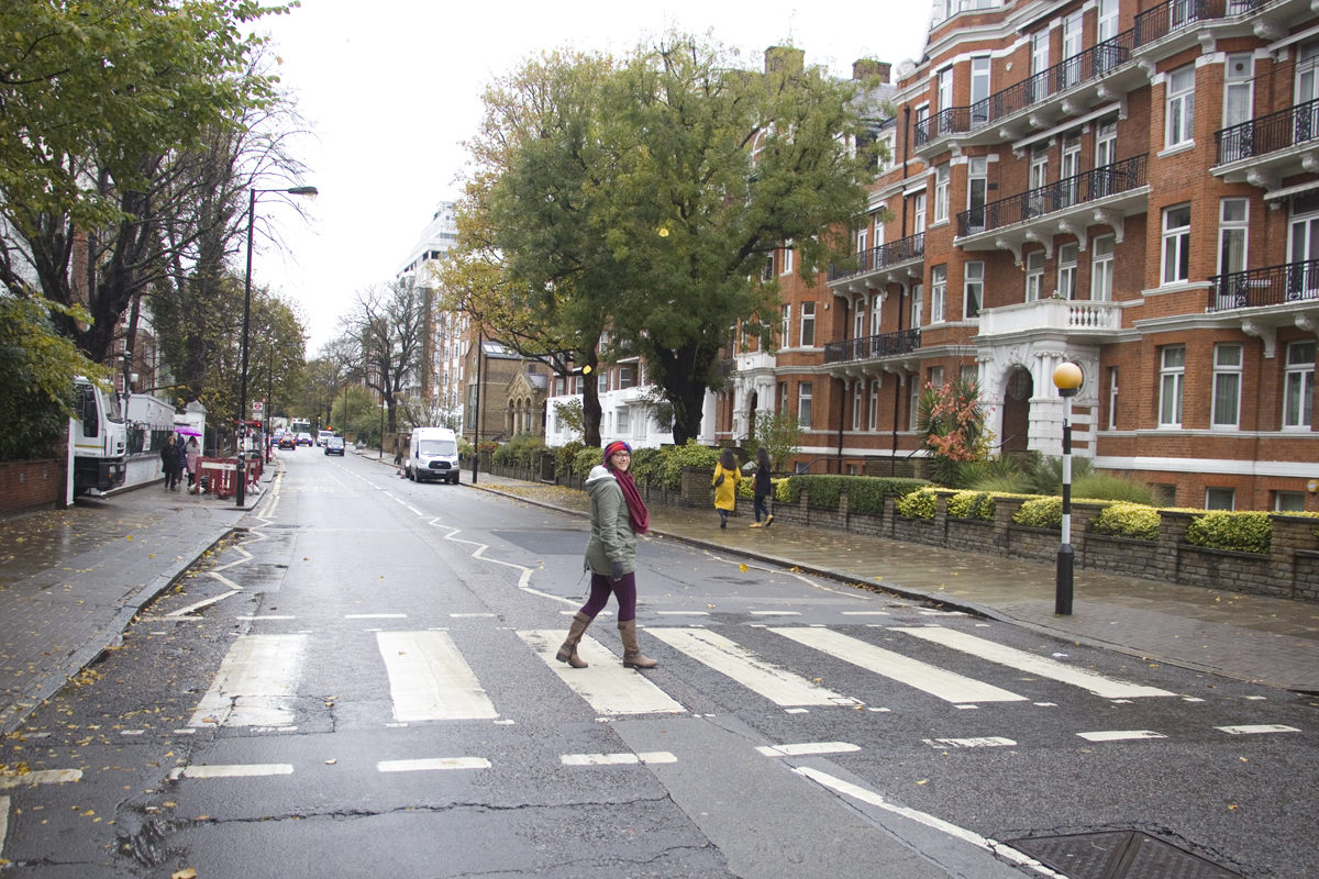Jenni crossing London's Abbey Road, made famous by The Beatles