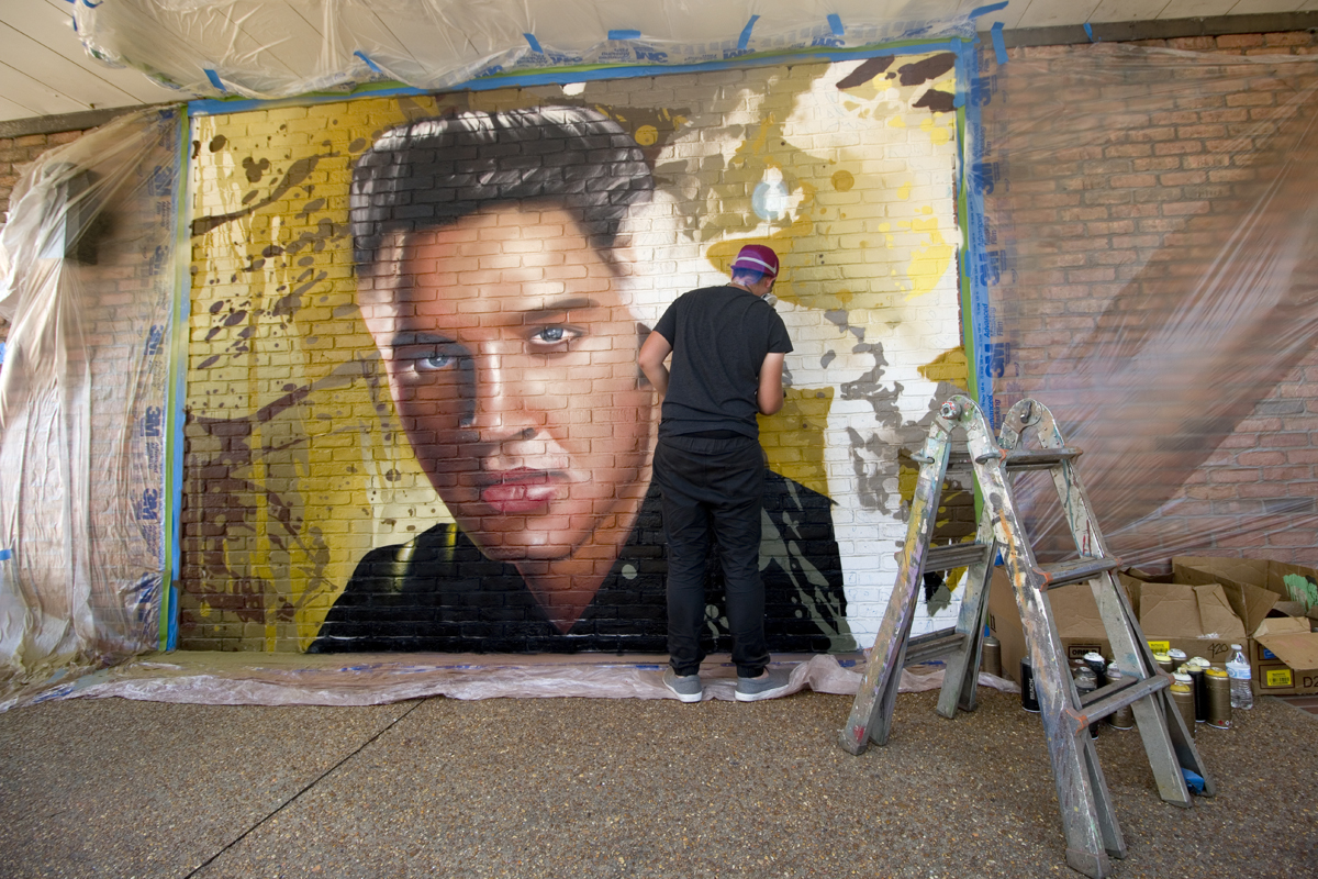 Elvis Mural by Arcy on Reed's department store, Downtown Tupelo, Mississippi