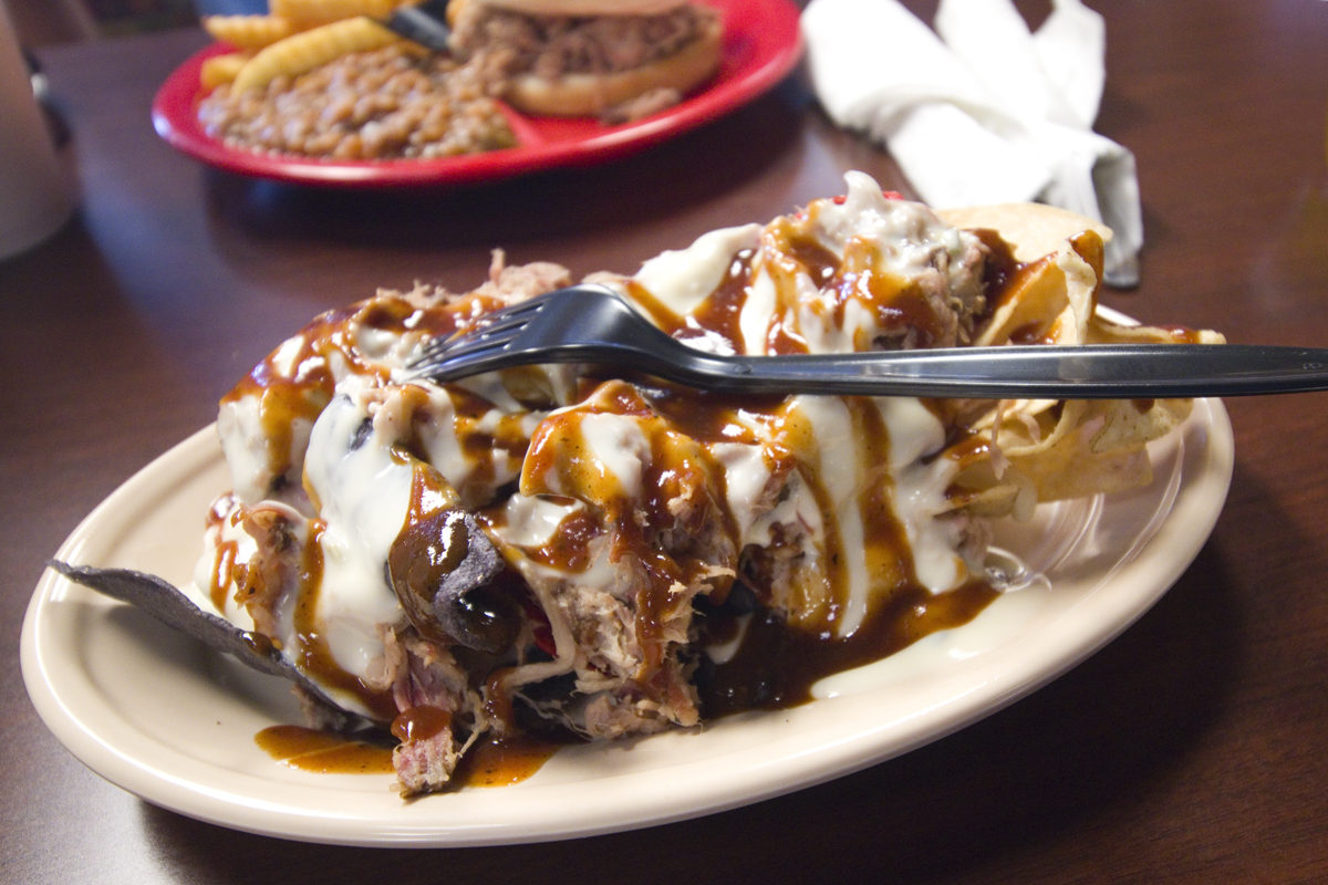 Barbecue nachos at Bar-B-Q by Jim in Tupelo, Mississippi
