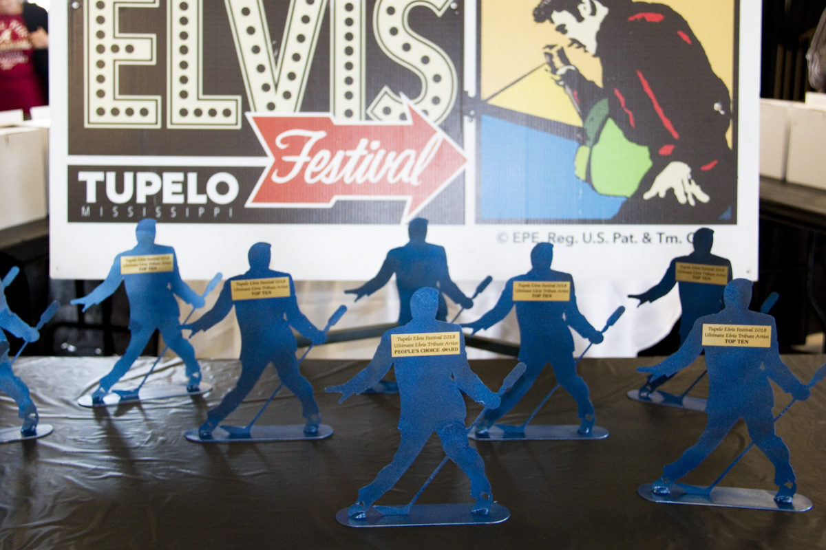 Trophies at the Tupelo Elvis Festival Ultimate Elvis Tribute Artist Competition 2018
