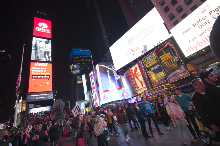 Times Square crowd and billboards