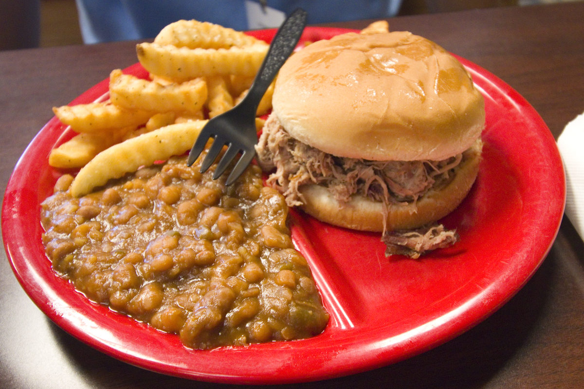 Pulled pork sandwich, fries, and baked beans from Bar-B-Q by Jim