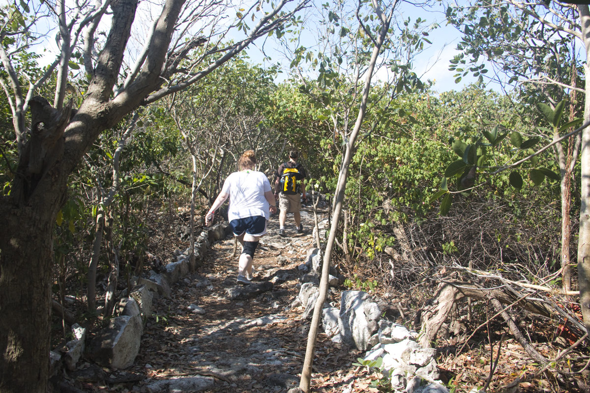 The rocky terrain of the nature trail at Punta Sur Eco Beach Park in Cozumel