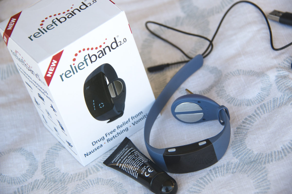 The Reliefband 2.0, box, charger, and conductivity gel