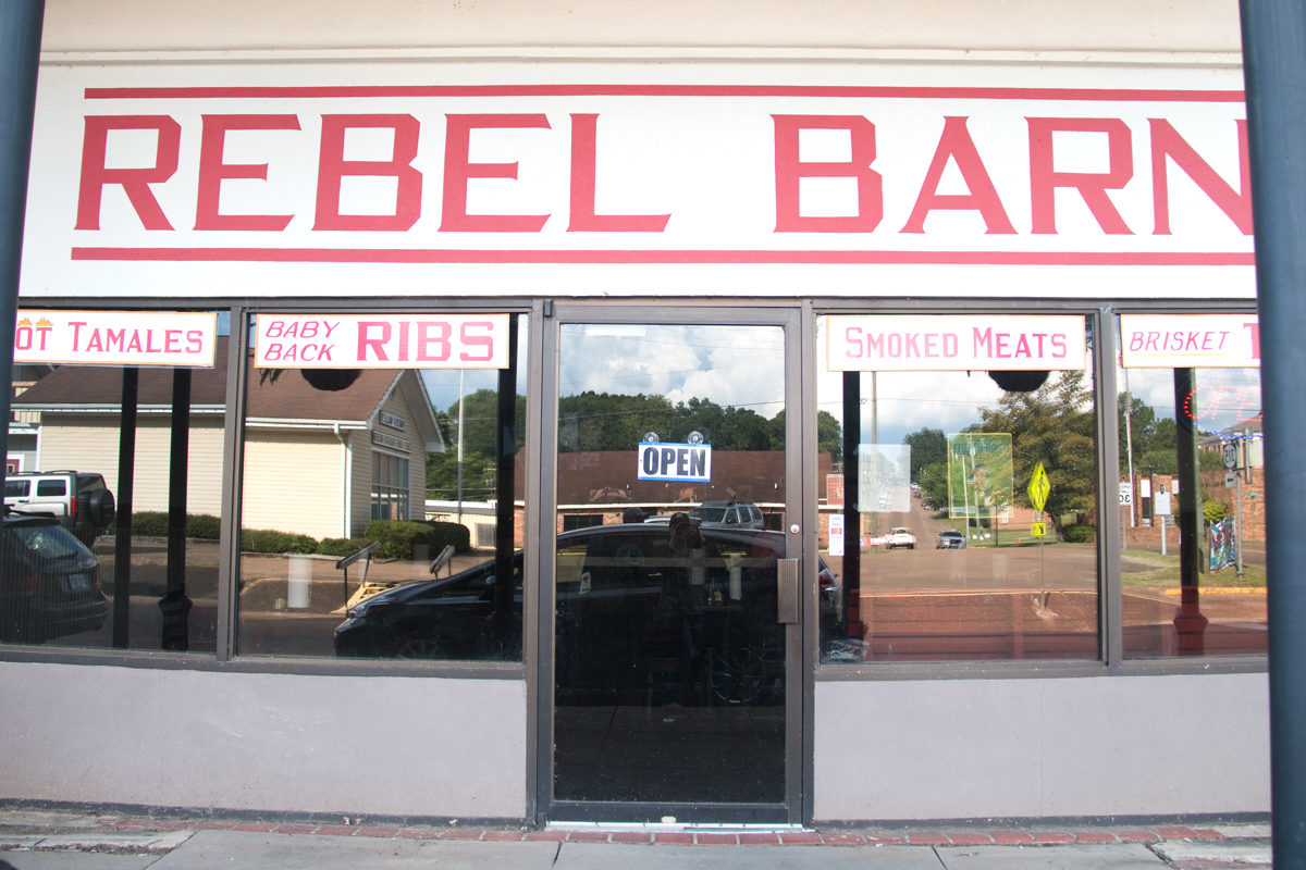 Rebel Barn barbecue restaurant exterior. Water Valley, Mississippi