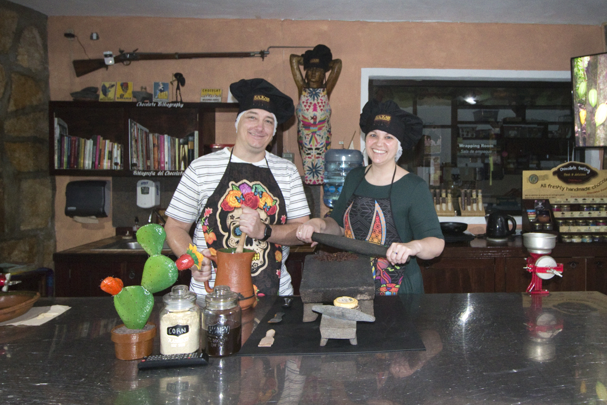 Making chocolate at the Kaokao Chocolate Factory in Cozumel