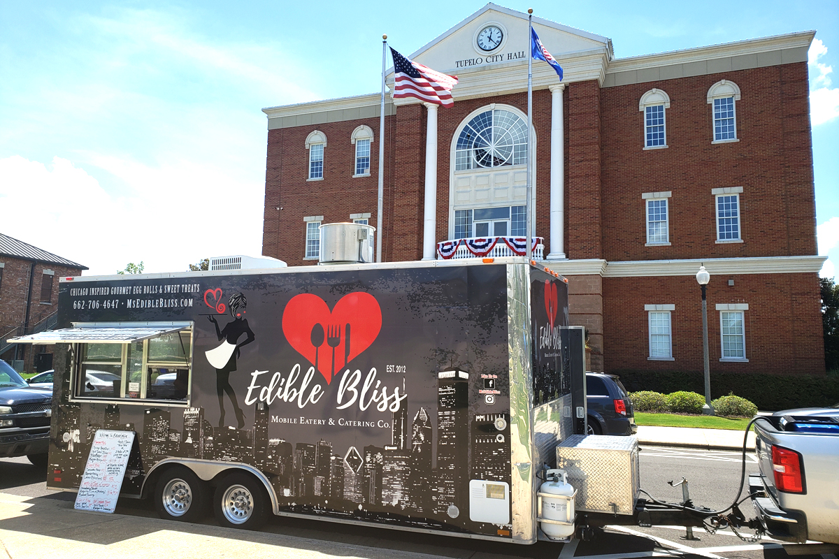 Edible Bliss food truck parked in front of Tupelo City Hall