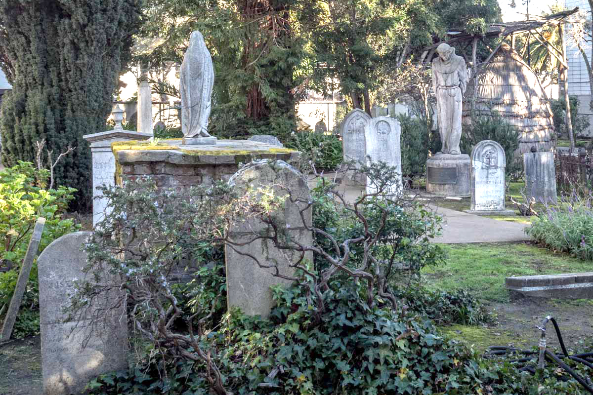 Tombstones in the Mission Dolores Cemetery