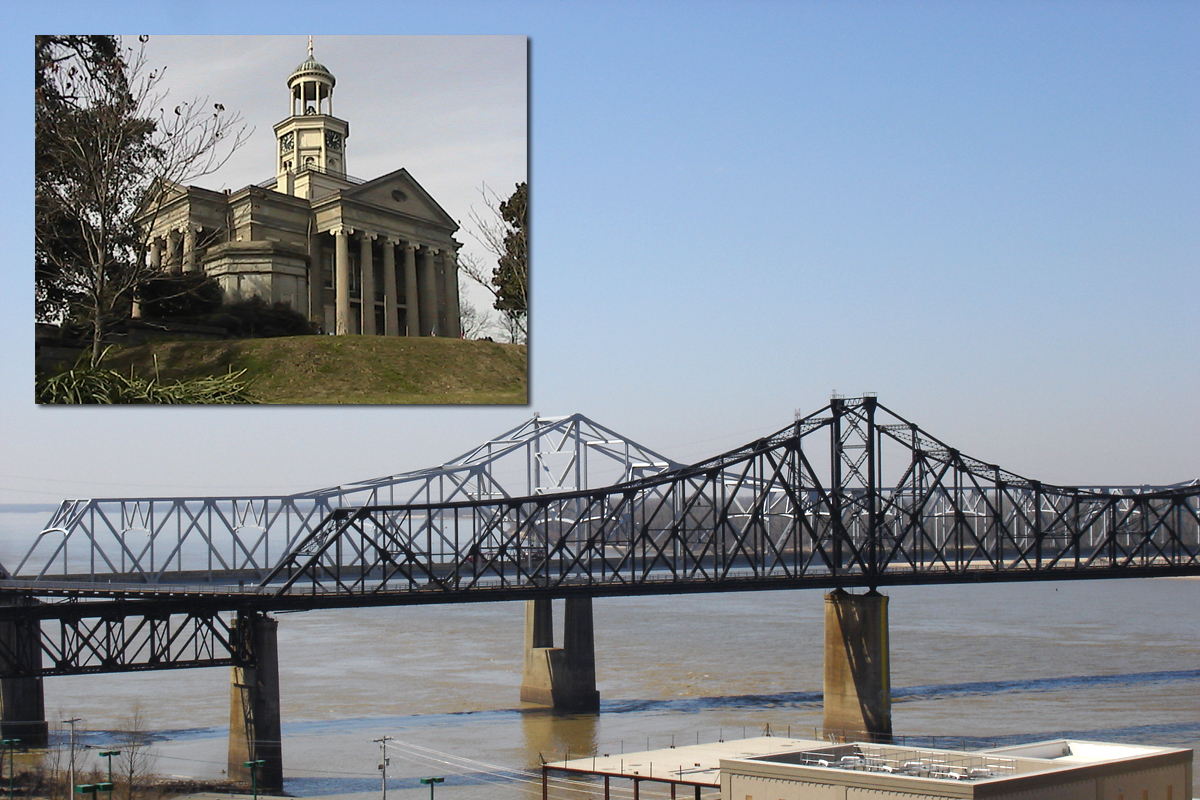 Bridge and courthouse in Vicksburg