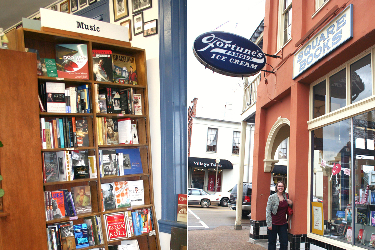Music section and exterior of Square Books