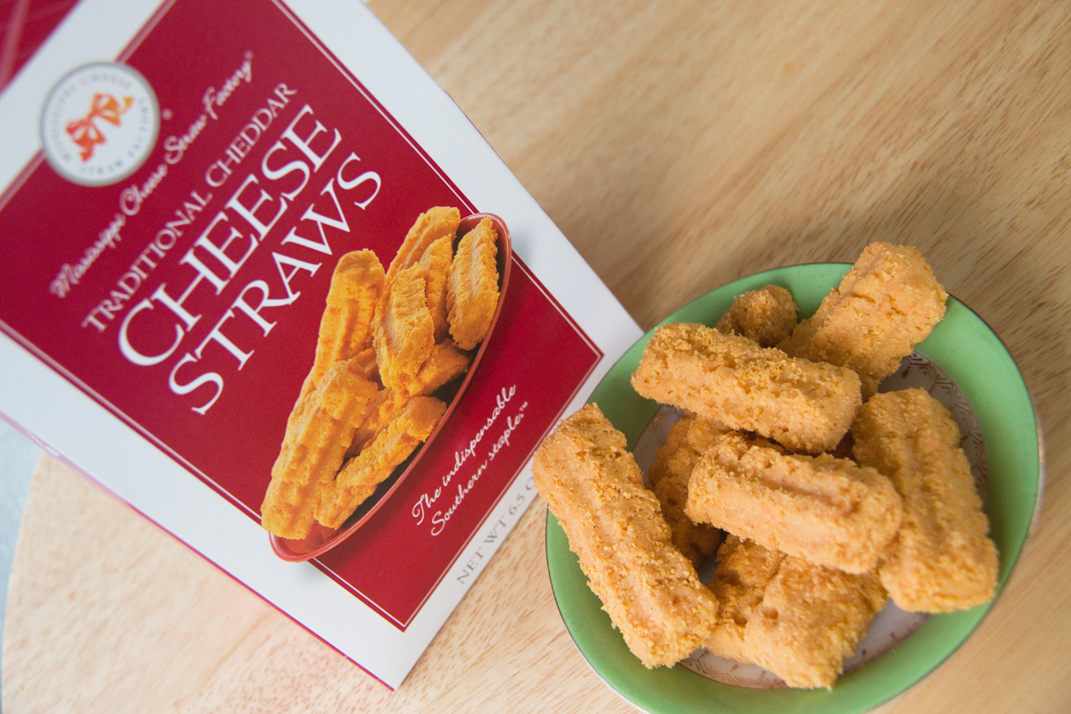 Mississippi Cheese Straw Factory cheddar cheese straws on a plate