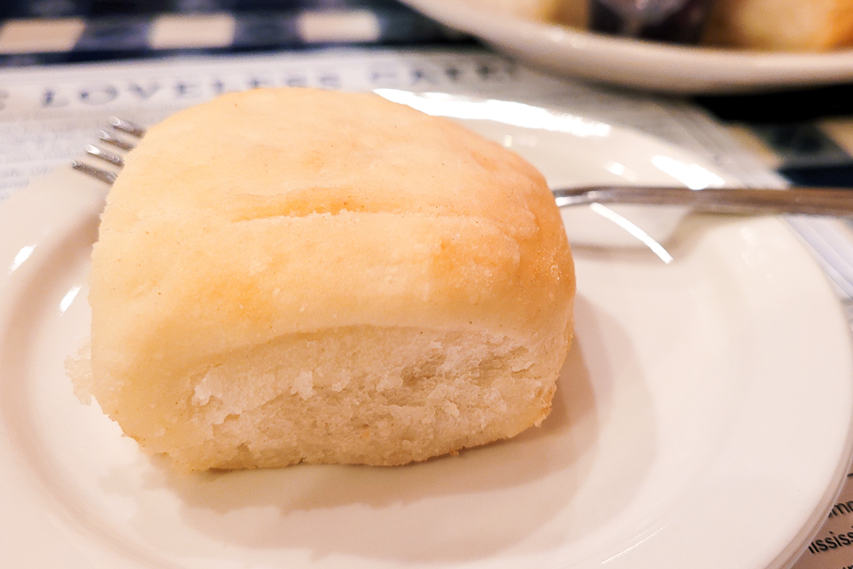 Biscuit on a plate at the Loveless Café