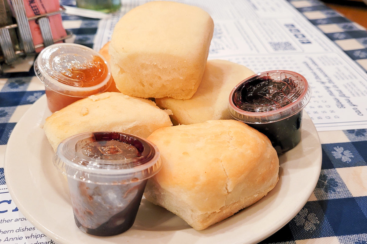 Plate of biscuits and preserves at the Loveless Café