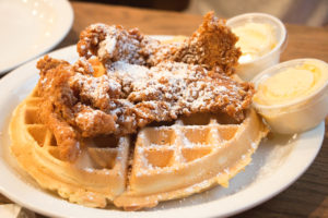 chicken and waffles at Frizzle Chicken Farmhouse Cafe