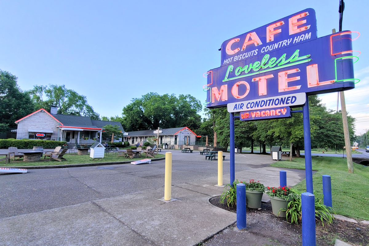 Exterior of Loveless Café and Motel with Neon sign