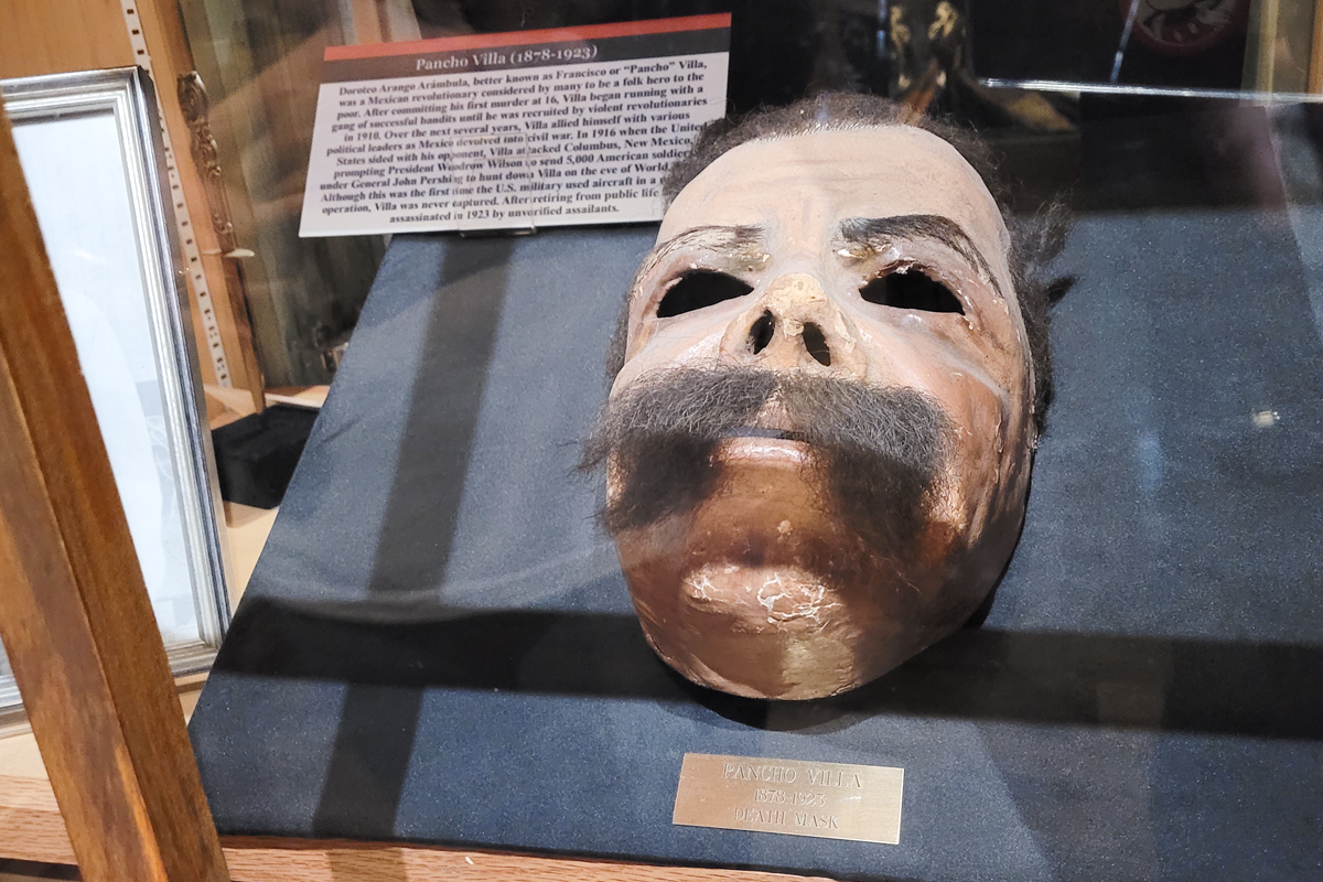 A strange copy of Pancho Villa's death mask with mustache on display at Alcatraz East